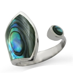 Abalone/Paua Shell Inlay 925 Sterling Silver Adjustable Ring