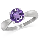 1.19ct. Natural African Amethyst 925 Sterling Silver Solitaire Ring