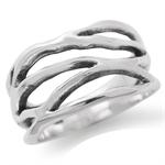 925 Sterling Silver Modern Wavy Ri...