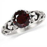 1.39ct. Natural Garnet 925 Sterling Silver Victorian Style Solitaire Ring
