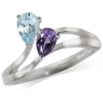 Natural Amethyst & Blue Topaz 925 Sterling Silver Ring