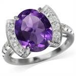 3.76ct. Natural Amethyst & Topaz White Gold Plated 925 Sterling Silver Cocktail Ring