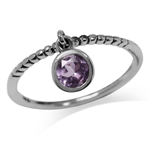 Dangle Natural Amethyst 925 Sterling Silver Stack/Stackable Ring