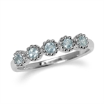 5-Stone Genuine Blue Topaz White Gold Plated 925 Sterling Silver Stack/Stackable Ring