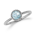 Genuine Blue Topaz White Gold Plated 925 Sterling Silver Stack/Stackable Solitaire Ring