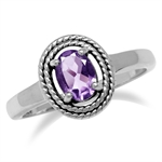 Natural Amethyst 925 Sterling Double Rope Balinese Style Solitaire Ring