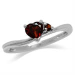 Natural Heart Shape Red Garnet White Gold Plated 925 Sterling Silver Promise Ring