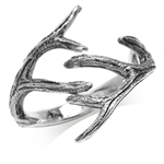 925 Sterling Silver Branch Inspired Antique Finish Fashion Ring