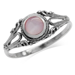 Pink Mother Of Pearl 925 Sterling Silver w/Antique Finishing Baroque Inspired Ring
