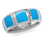 6MM Created Blue Turquoise Inlay White Gold Plated 925 Sterling Silver Eternity Band Ring