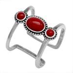 3-Stone Created Red Coral 925 Sterling Silver Bali/Balinese Style Cuff Ring