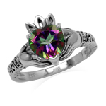 2.33ct. Mystic Fire Topaz White Gold Plated 925 Sterling Silver Claddagh Ring