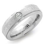 CZ Double Textured Stainless Steel Engagement Ring by Inori