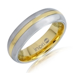 6MM Two-Tone Gold Stainless Steel Eternity Wedding Band Ring by Inori