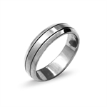 6MM Unisex Two-Tone 316L Stainless Steel Eternity Wedding  Band Ring