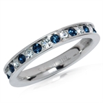 White & Montana Blue Crystal 316L Stainless Steel Stack/Stackable Ring