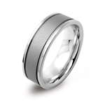 7MM Unisex Double Texture 316L Stainless Steel Wide Band Ring