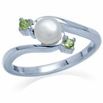 Cultured White Pearl & Peridot 925 Sterling Silver Ring