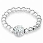 Clear Crystal Rhinestone & Sterlin...