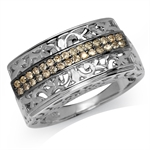 Champagne CZ White Gold Plated 925 Sterling Silver Filigree Journey Ring