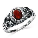 1.4ct. Natural Garnet 925 Sterling Silver Balinese Ring