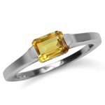 1.04ct. Genuine Octagon Shape Citrine White Gold Plated 925 Sterling Silver Solitaire Ring