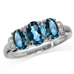 1.98ct. 3-Stone Genuine London Blue Topaz White Gold Plated 925 Sterling Silver Ring
