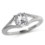 1.59ct. Genuine White Topaz 925 Sterling Silver Solitaire Ring