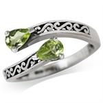 Natural Peridot 925 Sterling Silver Filigree Bypass Ring