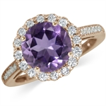 2.3ct. Natural Amethyst & White Topaz Rose Gold Plated 925 Sterling Silver Cocktail Ring