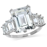 9.56ct. Genuine Topaz White Gold Plated 925 Sterling Silver Cluster Ring