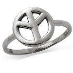 9MM 925 Sterling Silver PEACE SIGN Ring