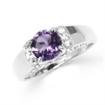 1.19ct. Natural Amethyst White Gold Plated 925 Sterling Silver Engagement Ring