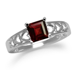 1.33ct. Natural Garnet White Gold Plated 925 Sterling Silver Heart Filigree Ring