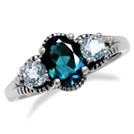London Blue Topaz 925 Sterling Silver Ring w/Antique Finishing Ring