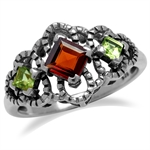 Natural Garnet & Peridot 925 Sterling Silver Antique Finish Scroll/Filigree Ring