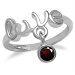 Casual 925 Sterling Silver LOVE Ring w/ Dangle Natural Garnet