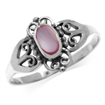 Pink Mother Of Pearl 925 Sterling Silver w/Antique Finishing Victorian Style Ring