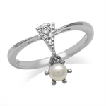 Dangle Cultured Pearl White Gold Plated 925 Sterling Silver Casual Ring