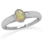 Genuine Opal White Gold Plated 925 Sterling Silver Bezel Set Solitaire Ring
