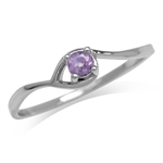 Petite Natural Amethyst White Gold Plated 925 Sterling Silver Solitaire Promise Ring