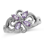 Natural Amethyst White Gold Plated...