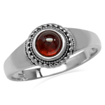 Cabochon Garnet White Gold Plated 925 Sterling Silver Rope Solitaire Ring