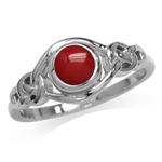 Created Red Coral White Gold Plated 925 Sterling Silver Celtic Knot Solitaire Ring
