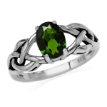 1.15ct. Green Chrome Diopside 925 Sterling Silver Celtic Knot Solitaire Ring