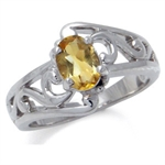 Natural Citrine White Gold Plated Filigree Solitaire Ring