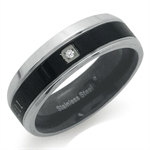 CZ Two-Tone PVD Stainless Steel Love Conquers all Eternity Band Ring