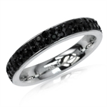 4MM Jet Black Crystal Rhinestone Stainless Steel Eternity Band Ring