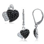 Black&White CZ Gold Plated 925 Sterling Silver Heart Pendant & Ea...