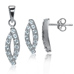 3-Piece CZ White Gold Plated 925 Sterling Silver Drop Earrings&Pe...
